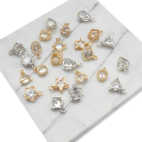 MyBuddy 20Pcs Cubic Zirconia AlloyPendants, Crystal Pendants Charms for DIY Necklace Jewelry Making