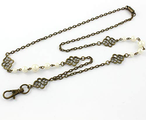 Brenda Elaine Jewelry Non-Tarnishing Women's Fashion Lanyard Necklace ID Badge Holder, 32 Inch Antique Brass Chain and Celtic Accents with Cream Color Pearls & Rear Magnetic Clasp