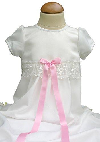 Grace of Sweden - Costume de baptême - Bébé (garçon) 0 à 24 mois blanc cassé Pink bow 62, 3-6 months, chest 18 in.
