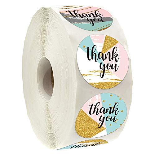 Geometric Modern Thank You Stickers, Thank You Stickers for Small Business, 6 Different Designs, 1.4 Inche, 500 Adhesive Labels Per Roll, Thank You Stickers for Wedding, Bridal Shower.