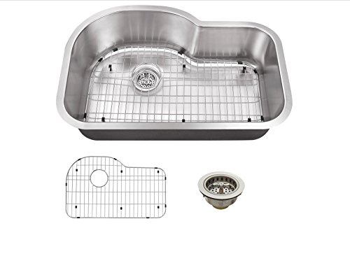 Soleil SSSBE3121P 31-1/2-in x 21-1/8-in 18-Gauge Stainless Steel Single Bowl Undermount Euro Kitchen Sink with Basin Rack and Drain Assembly