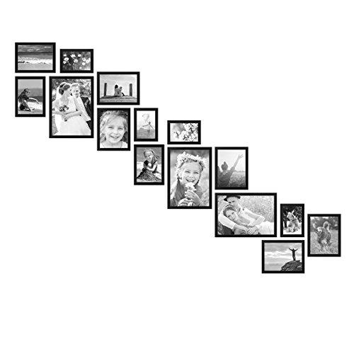 PHOTOLINI Bilderwand Treppe Modern Schwarz aus MDF 15er Bilderrahmen-Set für Treppenhaus/Treppenaufgang