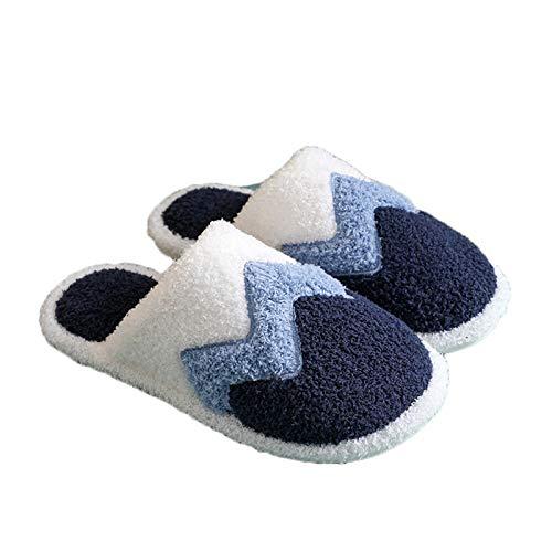 Xnhgfa Pantuflas de Interior para Hombre Mujeres Otoño Invierno Antideslizantes Zapatillas de Algodón de Felpa Cómodas Resistentes al Desgaste Suaves Unisex,Dark Blue,42/43