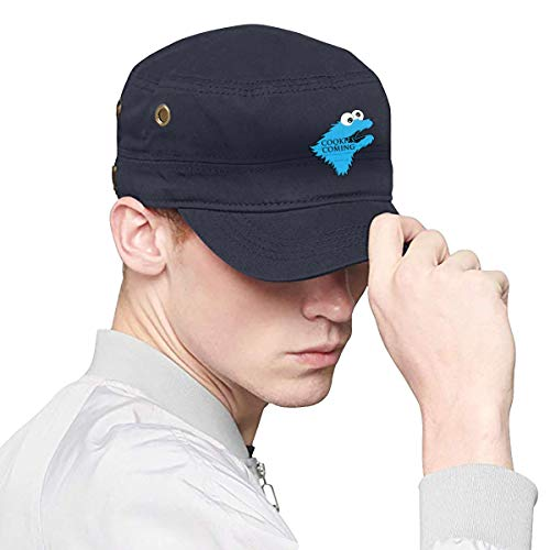 Unisex Cookie-Monster is Coming Adult Flat Cap Dad Hats, Casquette Snapback Flat Bill Hat Hip Hop Navy