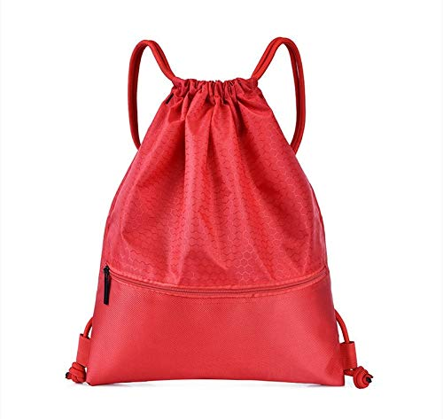 Fangoshop Basketball Bag Waterproof Nylon Drawstring Backpack Red trumpet