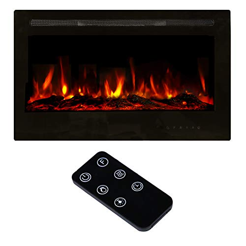 "U-MAX 36"" Recessed Wall Mounted Electric Fireplace Insert, 9 Colors Flame/Touch Control Screen & Remote/750-1500W Heater with Timer, Log & Crystal Hearth Options, Black"