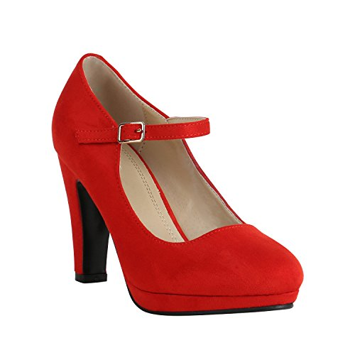 Damen Schuhe Plateau Pumps Lack Spangenpumps High Heels Blockabsatz 157225 Rot Brito 38 Flandell