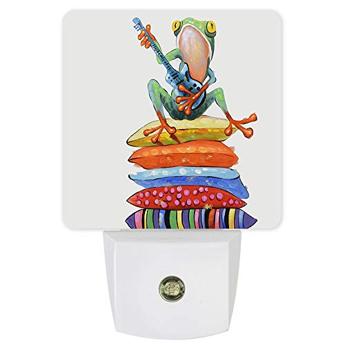 Plug-in Night Lights Fashion Frog Play Guitar LED Night Lamp with Auto Dusk-to-Dawn Sensor Warm White Light& Ultra Low Power for Bedroom/Bathroom/Hallway/Kid's Room