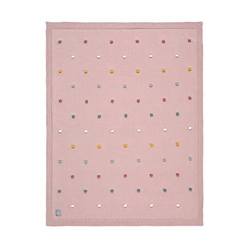 LÄSSIG Babystrickdecke Kuscheldecke Babydecke gestrickt 100% Bio Baumwolle GOTS/ Dots dusty pink