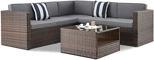 Crownland Outdoor Furniture 4-Piece (5 Seats) Sofa Sectional Set All-Weather Brown Wicker with Waterproof Cushions, Pillows and Glass Coffee Table for Terrace, Backyard, Swimming Pool (Grey Cushion)