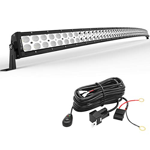 YITAMOTOR 52 inches Curved Led Light Bar Off Road Driving Lights with Mounting Brackets and Wiring Harness Compatible for Jeep, Pickup, Truck, SUV, ATV, 4X4, 4WD, Spot Flood Fog Light 300W LED