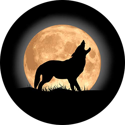 Tire Cover Central Wolf and Moon Spare Tire Cover, 31X10.5X15