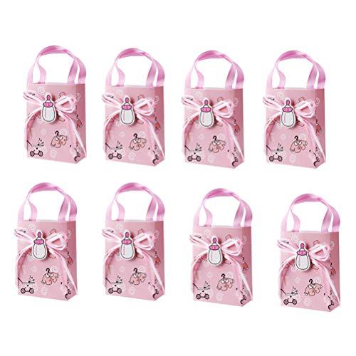 Toyvian Bolsas de Regalo de Papel Kraft Caja de empaquetado de Chocolate y Chocolate Mini Bolso de Caramelo Tote Bautizo Decoración Favores de Fiesta con Asas 12pcs (Rosa)