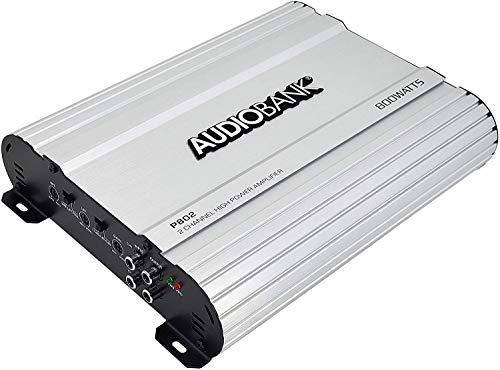 Audiobank 2 Channels 800 WATTS Bridgedable Car Audio Stereo Amplifier P802 Heavy-Duty Aluminum Alloy Heatsink | Class A-B Operation Remote On/Off Circuit