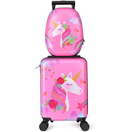 Kids Luggage Unicorn Suitcase for Girls - Toddler Luggage Childrens Luggage for Girls With Wheels
