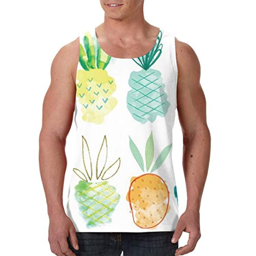 Sleeveless Undershirt for Youth & Adult Men Boys Workout & Training Activewear Muscle Tank Top Vests Casual Soft Athletic Regular Fit Shirts -Pineapple Life Sweet