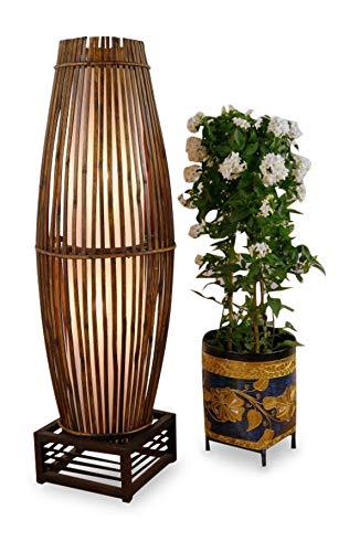 Asia Wohnstudio Stehlampe aus Bambus u. Rattan auf Holzgestell, asiatische Designerlampe Wohnzimmerlampe Standlampe