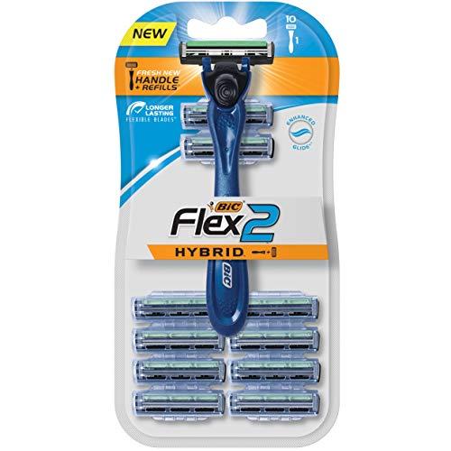 BIC Flex 2 Hybrid Men's Twin Blade Razor, One Handle 10 Cartridges