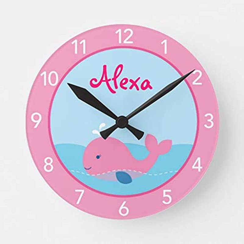 Pattebom Little Pink Whale Personalized Nursery Wood Wall Clocks Silent Non Ticking For Bedrooms Living Room Nursery Kids Room Birthday Housearming Gifts 12in