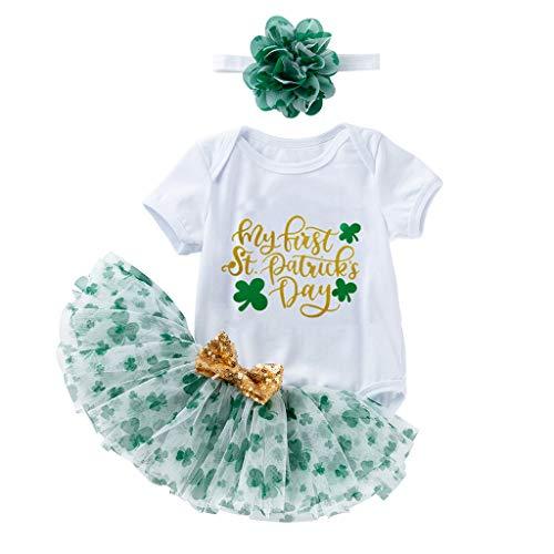 Moneycom❤Nouveau-né bébé Filles Filles St.Patrick's Day Romper Tutu Jupes + Hairband Outfits Blanc(18-24 Mois)