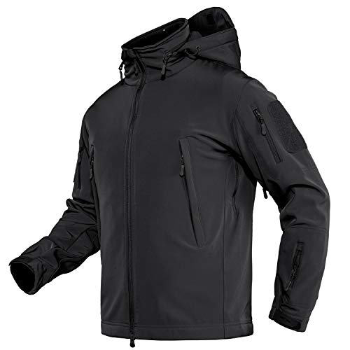 TACVASEN Men's Army Military Soft Shell Hooded Fleece Tactical Jacket Coat Black,US L(fit chest:39'-42')