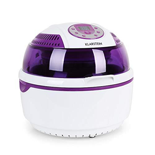 Klarstein VitAir Heißluftfritteuse Fritteuse (1400 Watt, 9 Liter Garraum, fett-frei Frittieren, Halogen-Infrarot-Heizelement, Automatikprogramme, Antihaft-Beschichtung) violett-weiß