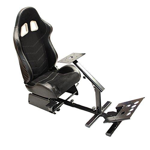 MODAUTO Estructura para Videojuego, Estructura Simulador de Conducción con Asiento SemiBaquet Ajustable, de Alcantara y Cuero, Modelo N810B-N320, Color Negro y Costura Blanca