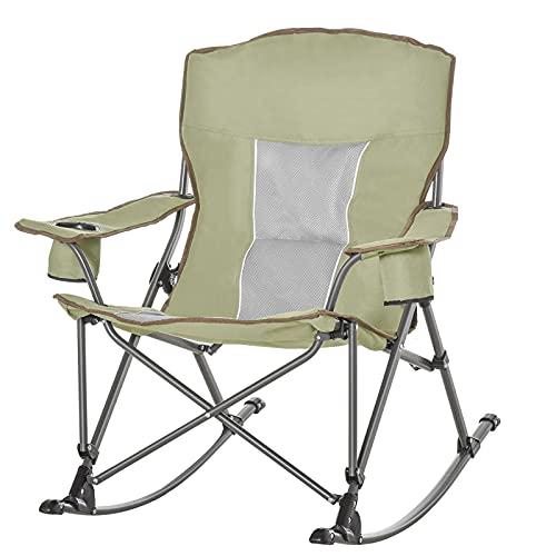 Sedia pieghevole da campeggio Sedia a dondolo portatile con braccioli e portabicchieri Compatta e robusta in una borsa per esterni, spiaggia, picnic, escursionismo, viaggi, verde