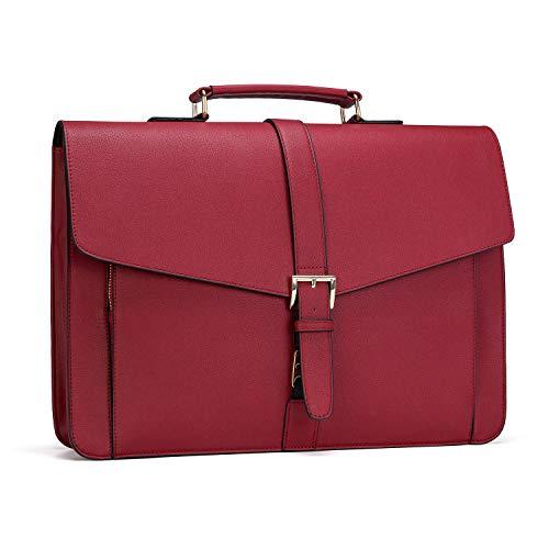 Estarer Aktentasche Damen Laptoptasche 15.6 Zoll Rot Businesstasche aus PU Leder