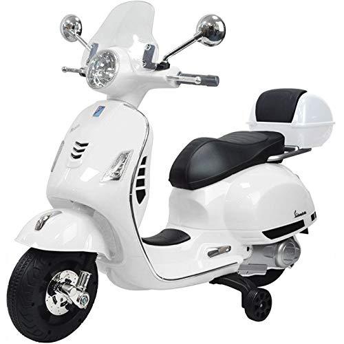 Moto eléctrica para niños Vespa Piaggio GTS con baúl 12 V blanco
