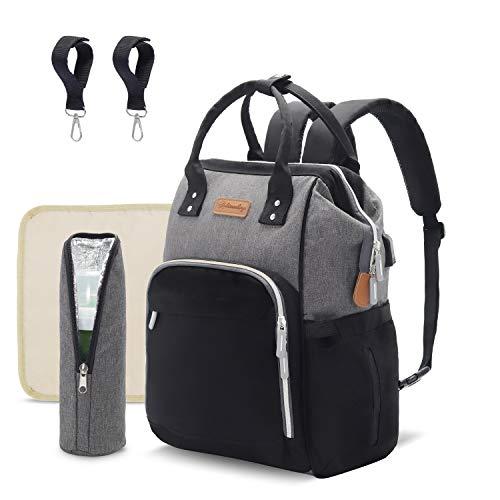PREEMINA Mochila para pañales, multifuncional, de gran capacidad, con puerto de carga USB, aislante, para cochecito, resistente al agua, para mamá y papá