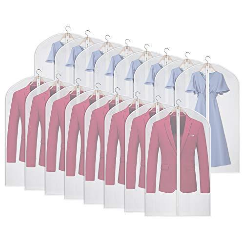 Univivi Clear Garment Bag Set of 16 Lightweight Garment Cover Full Zipper Suit Bags for Closet Clothes Storage -24 x 40