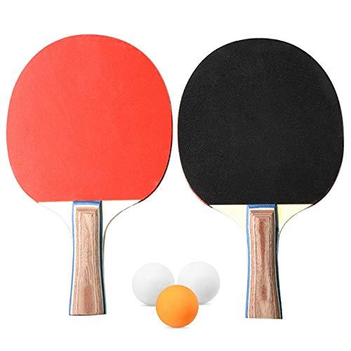 Heqianqian Juego de 2 bates de tenis de mesa y 2 jugadores de tenis de mesa, raquetas de ping pong (tamaño: L; Color: como se muestra)