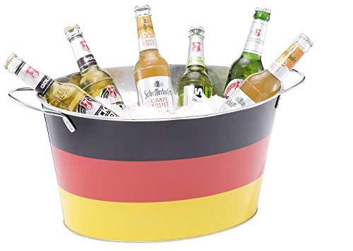 Getränke,- und Eiswanne Deutschland Kühler Eimer für Bier, Sekt oder Champagner Flaschenkühler Design Fußball EM 2020 WM Weltmeister Fanartikel Getränkekühler Party Eiswürfel