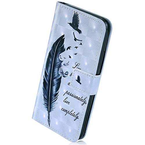Herbests Kompatibel mit Samsung Galaxy A51 Handyhülle Handytasche Leder Hülle Bunt Glitzer Bling Glänzend Leder Schutzhülle Flip Case Brieftasche Hülle Wallet Tasche,Feder Vogel