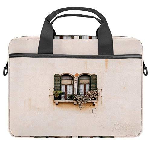 Laptop-Umhängetasche 38,1 cm Aktentasche Dokumententasche Kuriertasche mit Griff und Schultergurt rustikales Fenster Wand