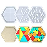Amusediy Jigsaw Puzzle Resin Molds, 3Pcs Puzzle Piece Silicone Molds, Triangle Molds Tangram Set, Christmas Molds for Puzzle Game, DIY Resin Chess Set Molds, Home Decoration, Kids Christmas Gift