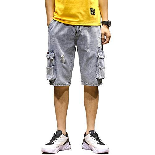 Vaqueros para Jeans Pantalones Pantalones Vaqueros De Verano Pantalones Cortos para Hombre Pantalones Cargo Multi-Bolsillos Algodón Desgastado Jean Streetwear Jeans Hombres Pantalo