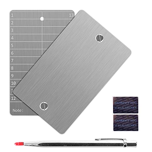 Crypto Seed Storage, Bitcoin Wallet, Cold Wallet Backup - BIP39 12 oder 24 Wörter Recovery Phrase Backup Cryptocurrency Wallet mit Gravurstift (Doppelt) (Silber)