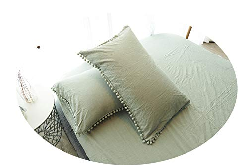 Meaning4 2 Pack Queen Size Pillow Shams with Poms Fringe Pure Cotton Sage Green 20x30 inch