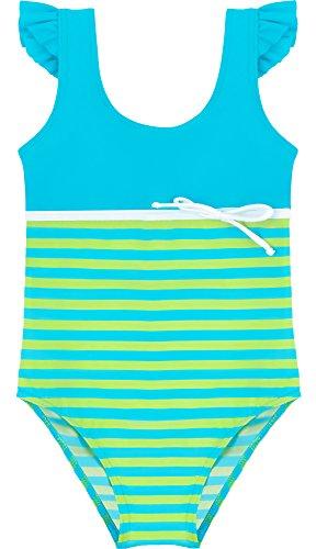 Merry Style Traje de Baño Entero 1 Pieza Monokini Bañador Niña MSVRKind1 (Azul/Verde,...