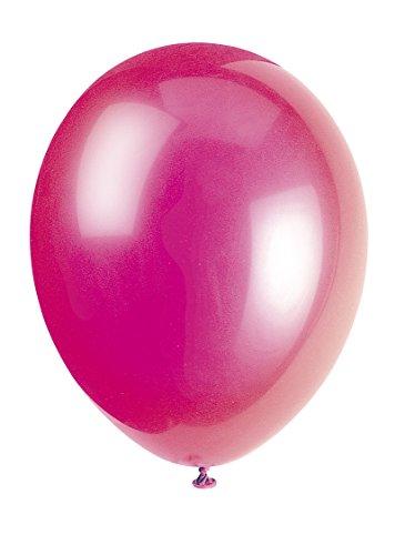 Unique Party-80010 Globos de Látex de 30 cm, Color Rosa (Fuchsia Pink), Pack de 10 (80010)