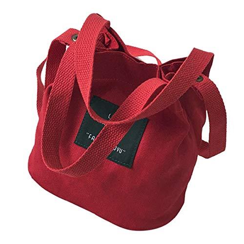 Greatangle-UK Personalizar Mini Paquete de Lona Literatura y Arte Bolso japonés Precioso Bolso de Cubo portátil para niñas Bolso de Hombro para niños Rojo