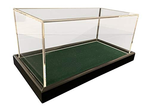 LL-Golf Große Universal Acryl Vitrine 22x12x10,5cm / Showcase/Schaukasten mit dunkelgrünen Samt z.B. für Modellauto 1:24, 1:32, Tennisball, Baseball, 3 Golfbälle, Figuren, Modelle, Uhren, Mineralien