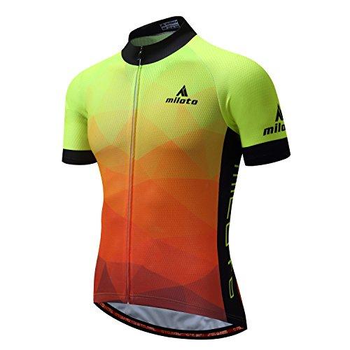 MILOTO Hombre Maillot Ciclismo Manga Corta Ciclismo Reflectante Jersey (Gradiente Amarillo, L)