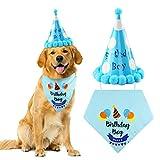 Ledoo Pañuelo para Perros Pañuelo de cumpleaños Pañuelos en la Cabeza ALGODÓN Pañuelo Triangular para Perros medianos y Grandes Decoraciones de cumpleaños Set