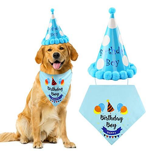 Ledoo Hund Geburtstag Bandana Hund Halstuch Partyhut Baumwolle Dreieckstuch für Mittelgroße und Große Hunde zum Geburtstag Dekorationen Set
