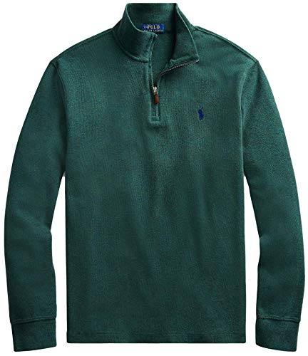 Polo Ralph Lauren Mens Half Zip French Rib Cotton Sweater (M, PineGreenHtr)