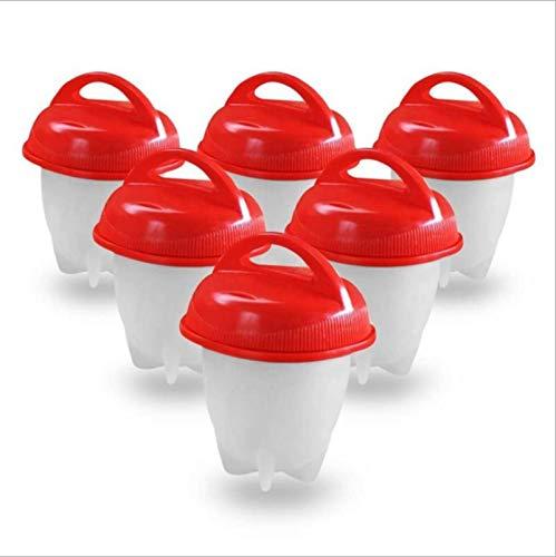 Juego de 6 hervidores de silicona para huevos frágiles, antiadherentes