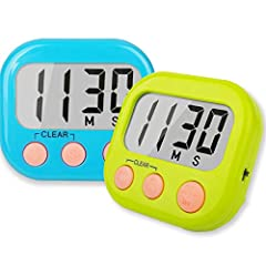 1 Blue & 1 Green digital timers large display and 3 buttones, super easy to read and set up. Maximum time is 99 minutes 59 seconds, meet the need of classroom and after-school activity perfectly, great countup / countdown timer for teachers kids. Cla...